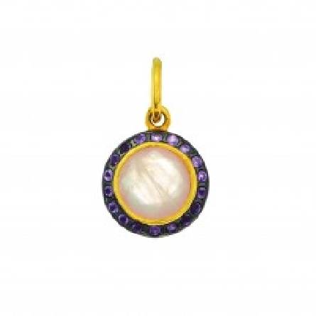 Silver with Yellow Finish Rose Quartz Round Pendant  on 18   Silver Chain with Yellow Finish