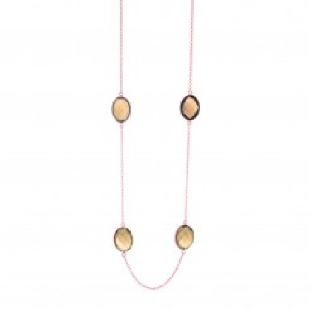 Silver with rose finish cable link necklace with 9 oval checker smokey quartz