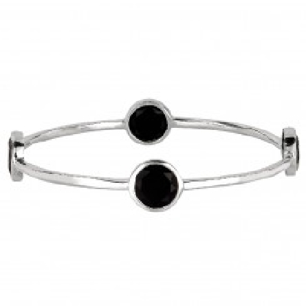 Silver Bangle with Round Black Onyx