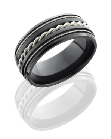 Zirconium ring by Lashbrook - with braid - polish finish - 9mm size 10 -