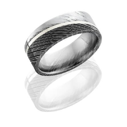 Damscus steel 8mm mens flat band with 1mm sterling silver set at an angle.