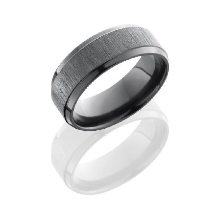Zirconium 8mm beveled mens band with cross satin black-polish.