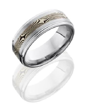 Cobalt Chrome ring by Lashbrook - with 14K Mokume - Satin Polish finish - 8mm - size 9